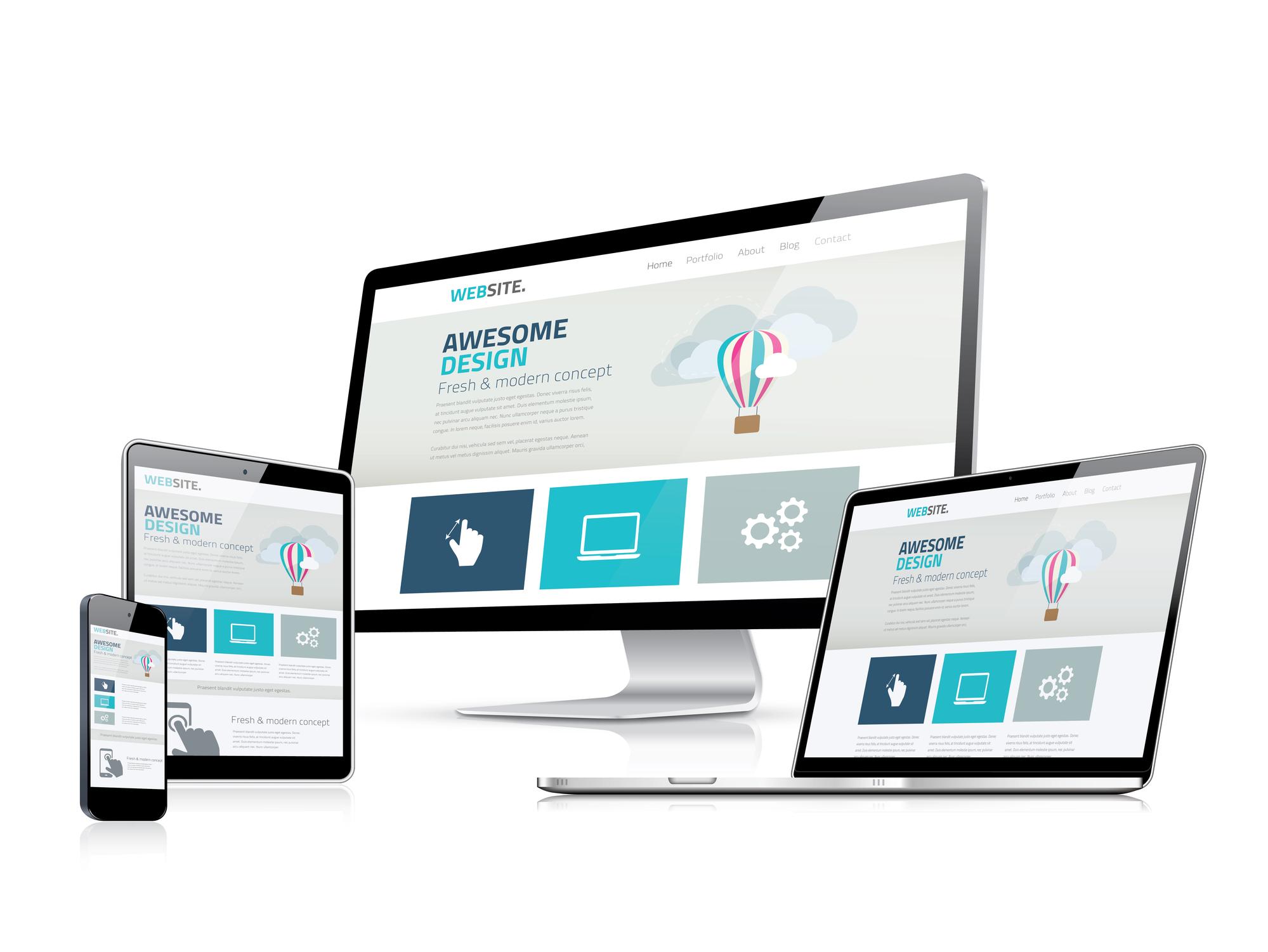 Awesome responsive web design development side vector displays property management website