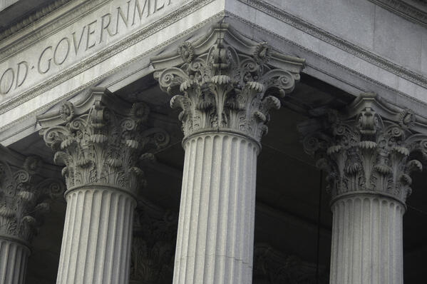 Corinthian columns on a government building