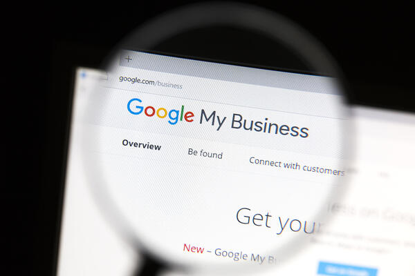 Web browser open on Google My Business with a magnifying glass