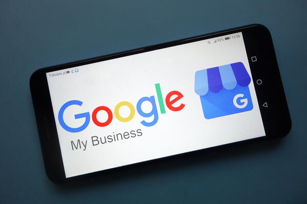 Smartphone with Google My Business app