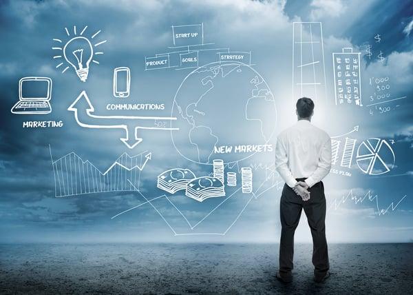 Businessman brainstorming for marketing