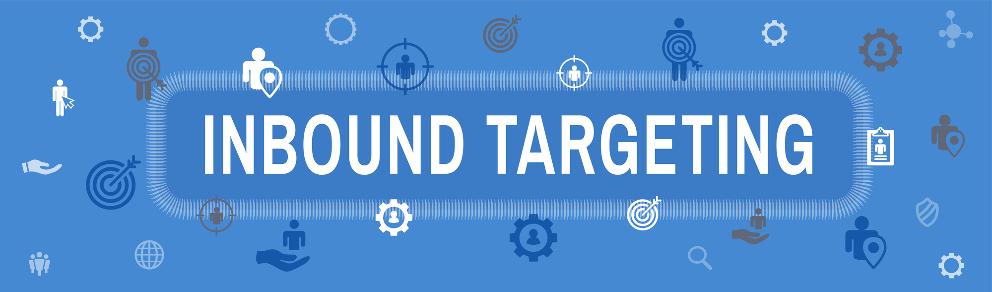 Digital Inbound Marketing & Targeting Web Banner with Vector Icon Set