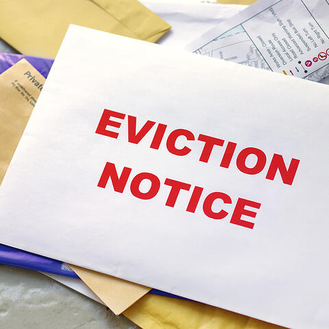served eviction notice in big red letters