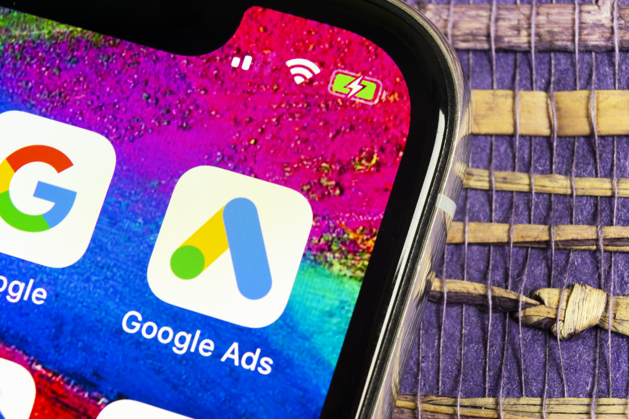 Google Ads AdWords application icon on Apple iPhone X screen close-up