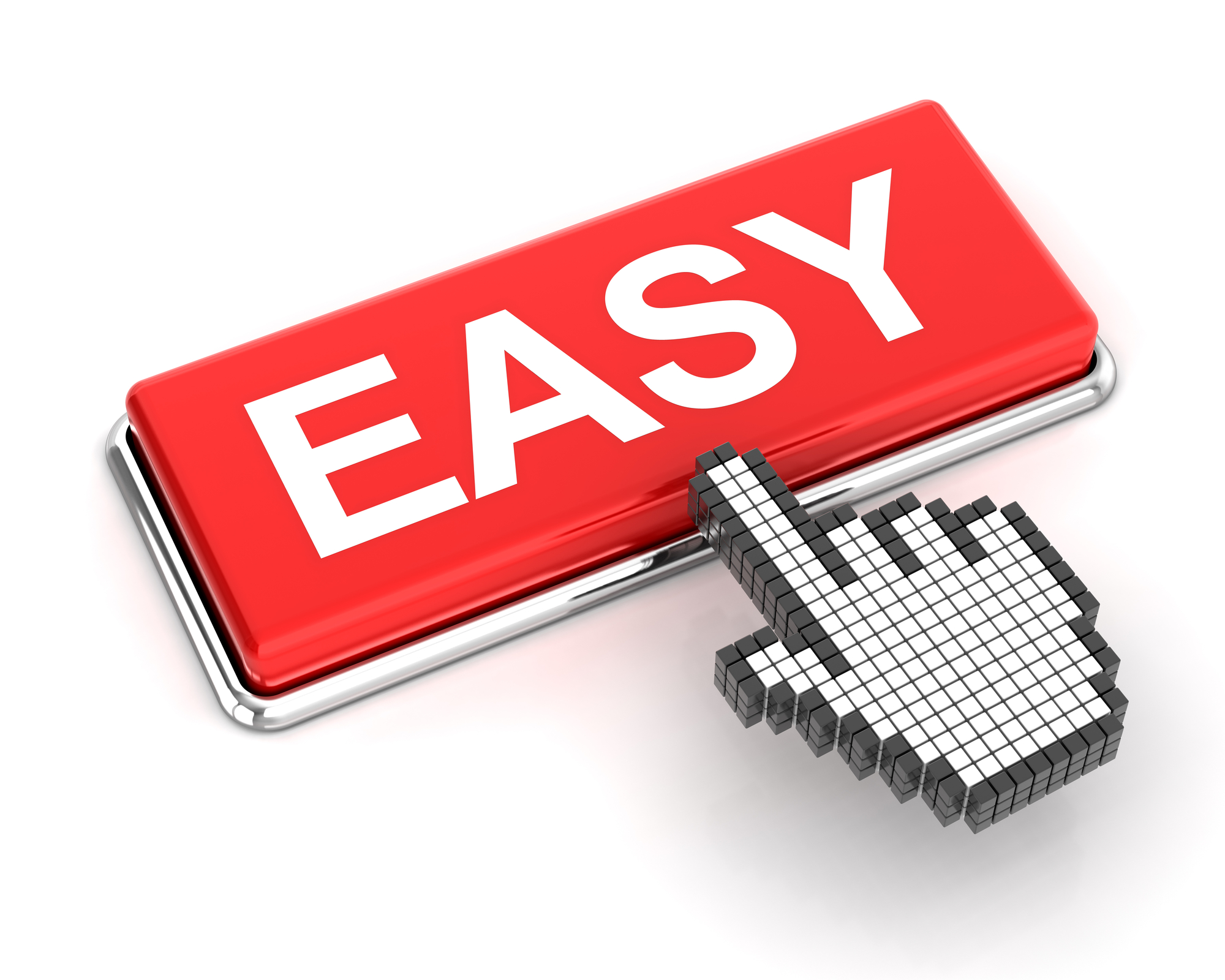 Hand cursor clicking an easy button
