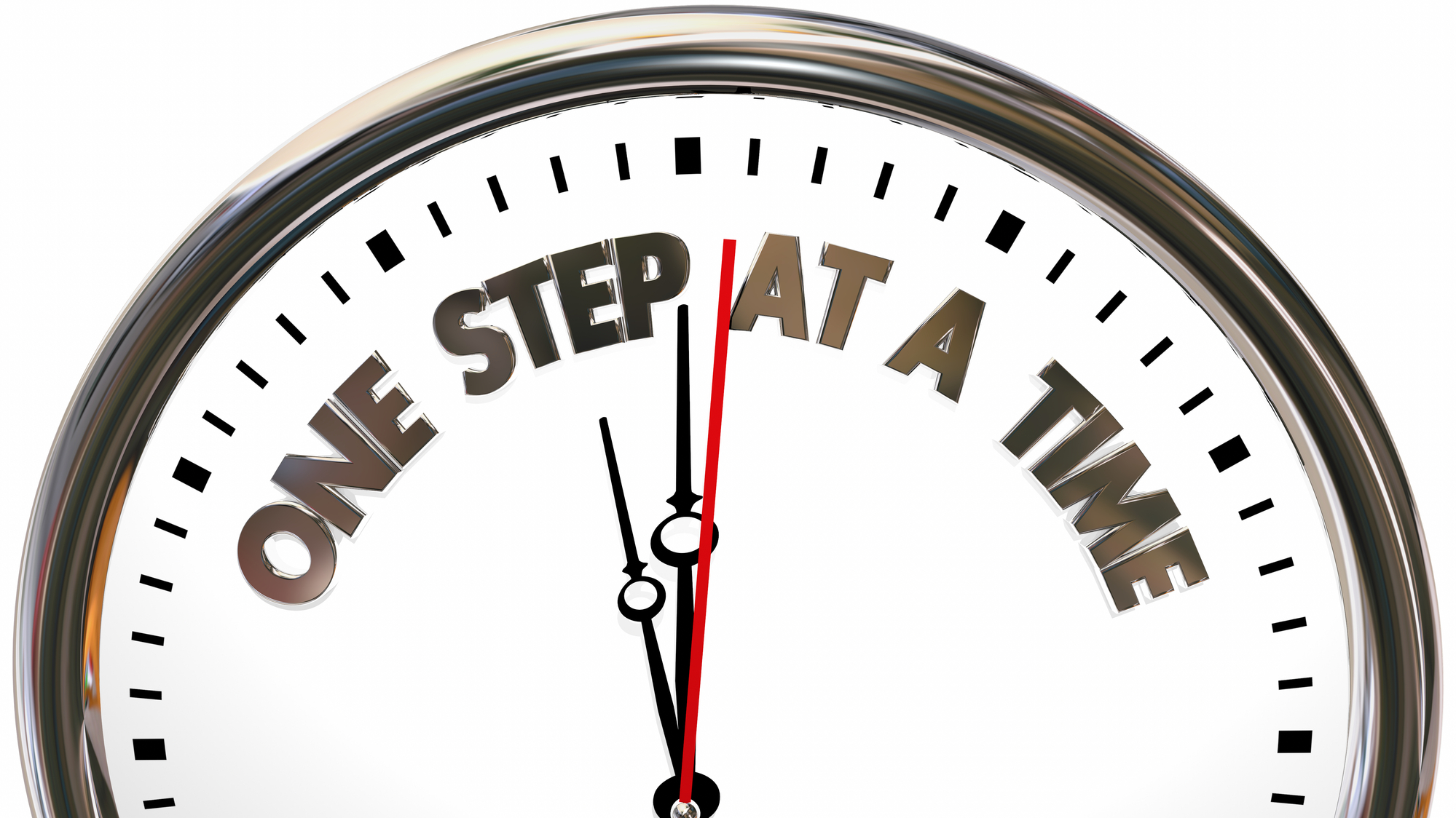One Step at a Time Clock Words 3d Illustration