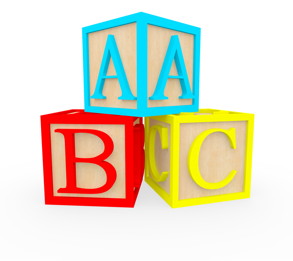3D ABC cubes - isolated over a white background