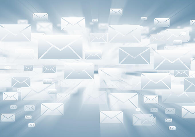 Background with media email icons on blue