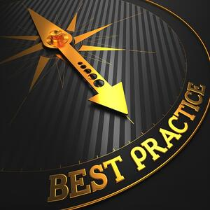 """Best Practice - Business Background. Golden Compass Needle on a Black Field Pointing to the Word """"Best Practice"""". 3D Render."""