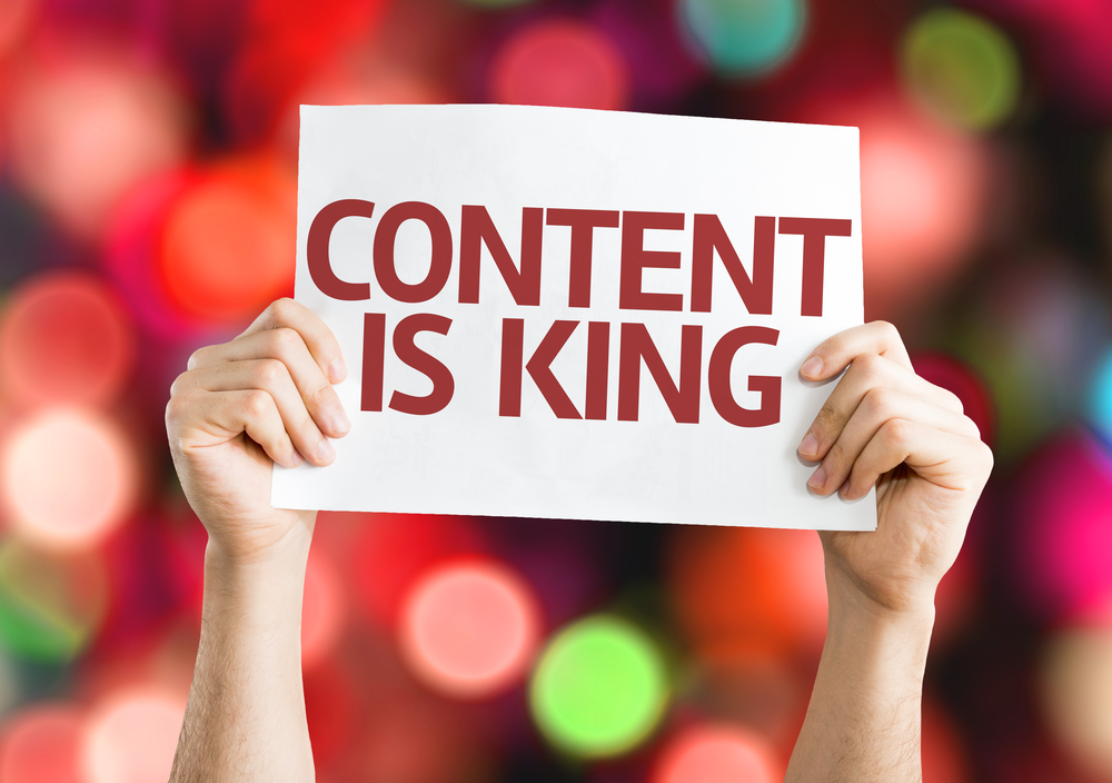 Content is King card with colorful background with defocused lights-2