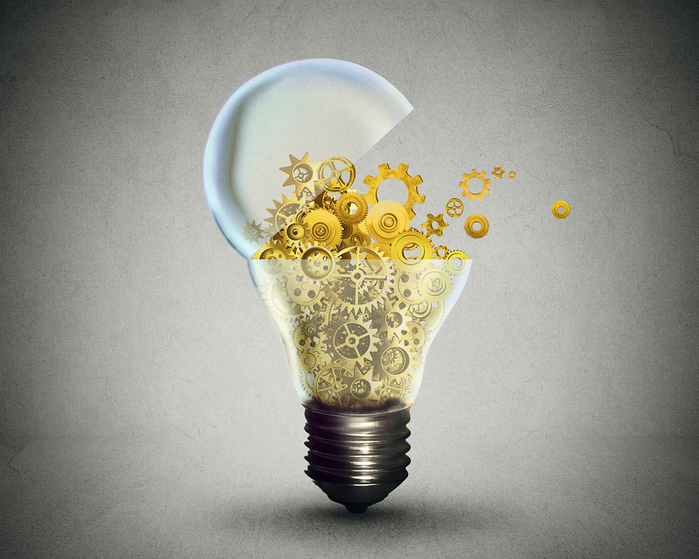 Creative technology and communication concept as an open door light bulb transferring gears and cogs.Business metaphor for downloading or uploading innovation solutions.
