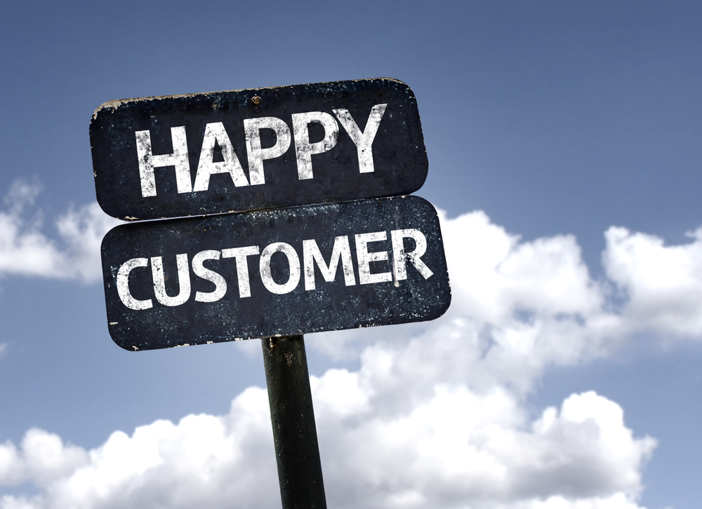 Happy Customer sign with clouds and sky background-1