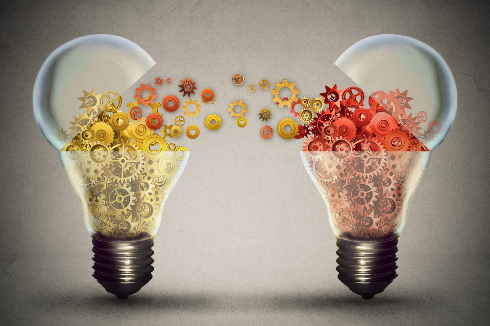Idea exchange concept. Ideas agreement Investing in business innovation and financial commerce backing of creativity. Open lightbulb icon with gear mechanisms. Funding potential innovative growth
