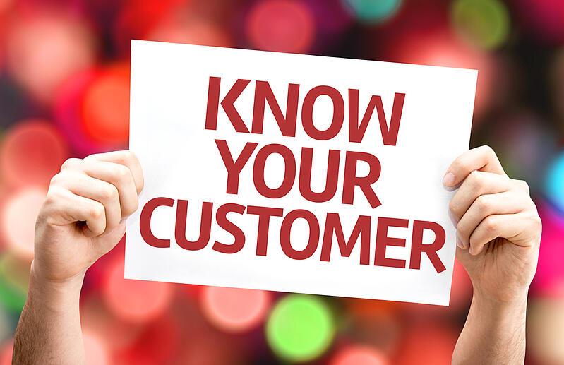Know Your Customer card with colorful background with defocused lights-1