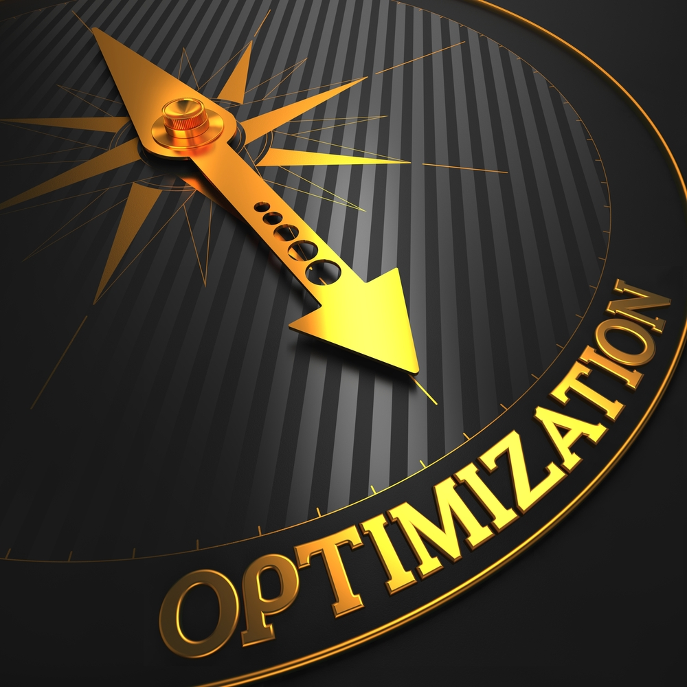 Optimization - Business Concept. Golden Compass Needle on a Black Field Pointing to the Word Optimization. 3D Render.-1