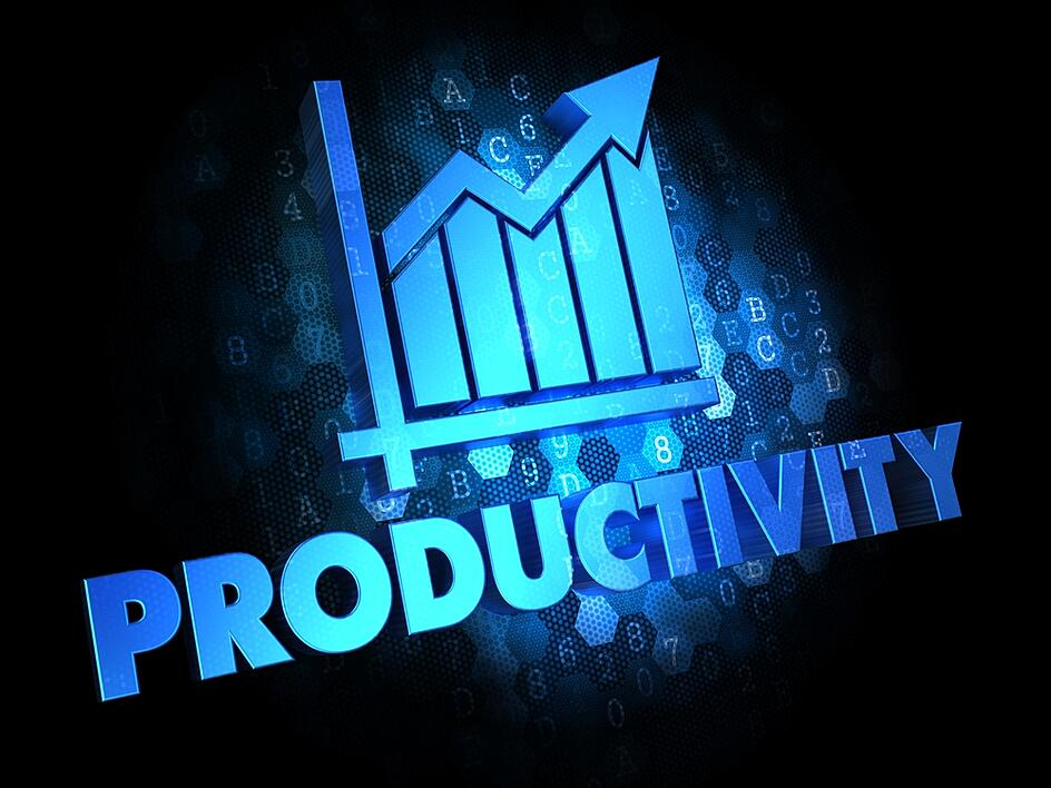 Productivity with Growth Chart - Blue Color Text on Dark Digital Background.-1