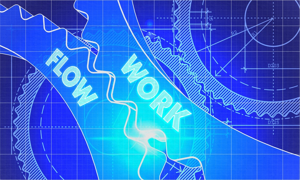 Work Flow Concept. Blueprint Background with Gears. Industrial Design. 3d illustration, Lens Flare.-1