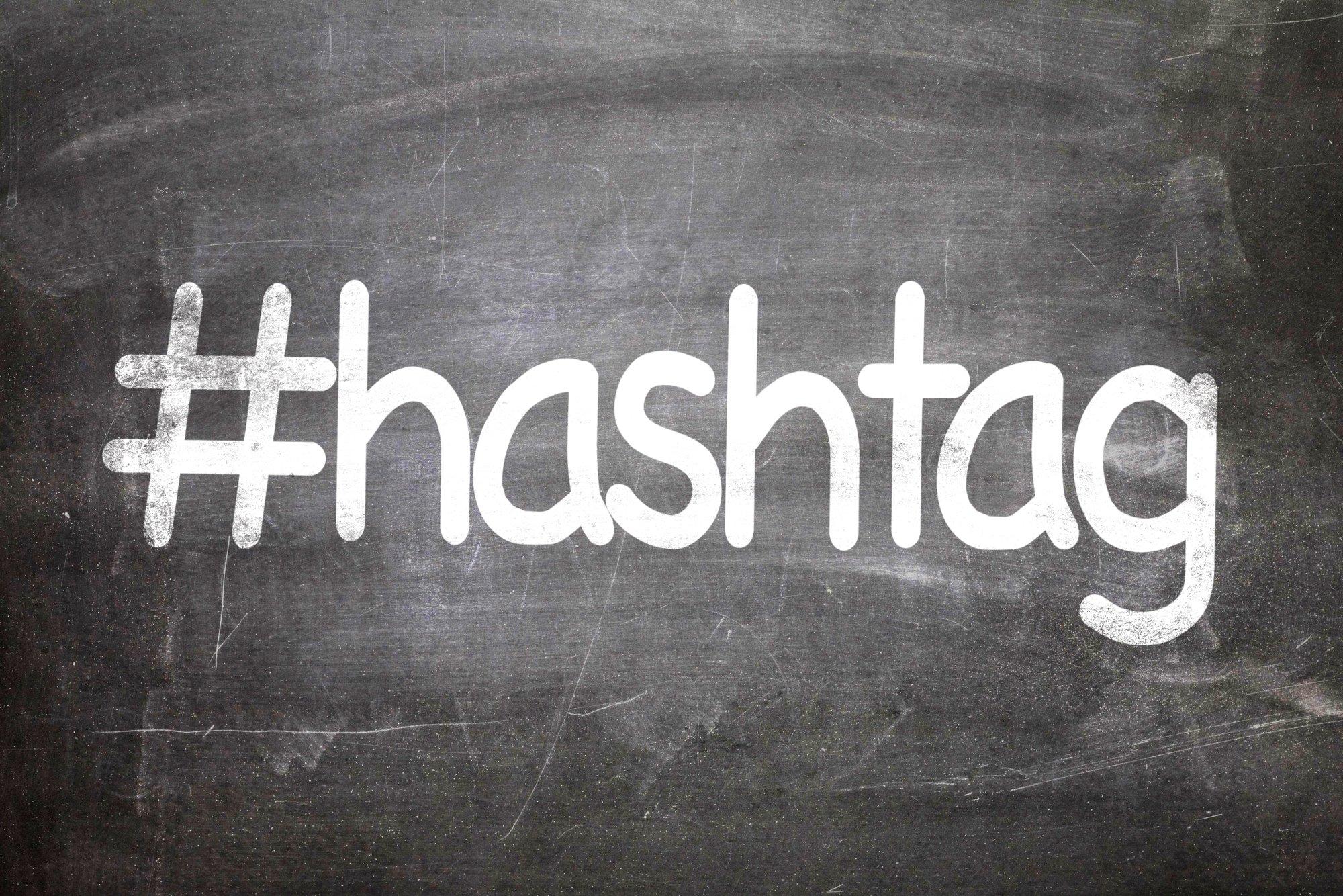 Symbol hashtag on a chalkboard