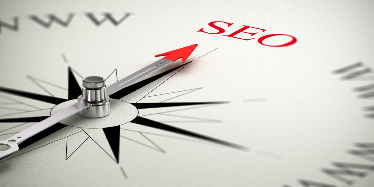 A compass pointing to SEO