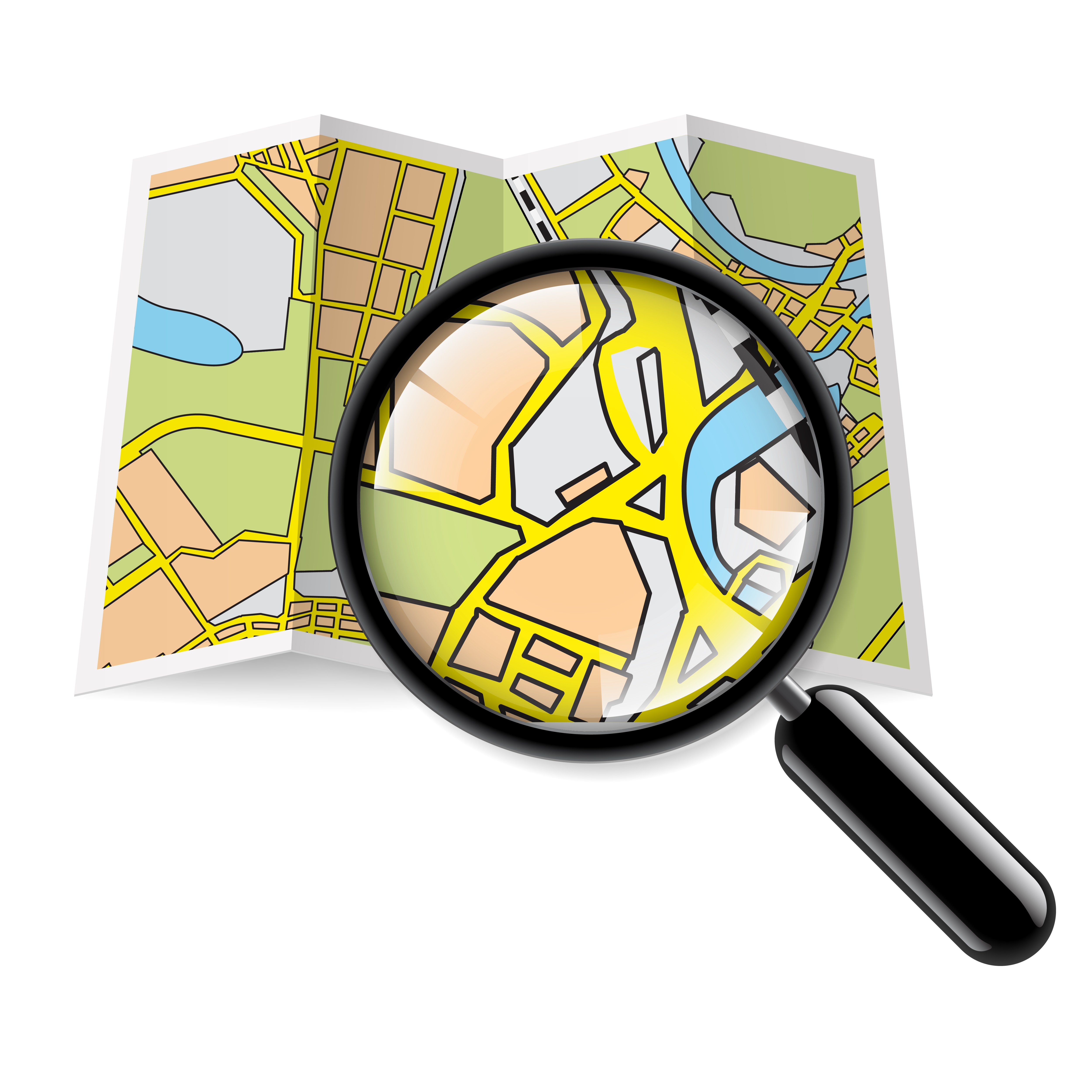 paper brochure map with magnifying glass
