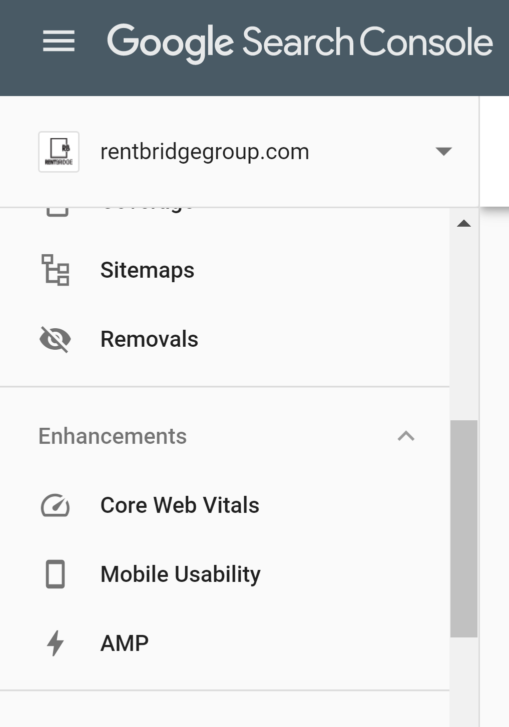 Google Search Console panel showing enhancements